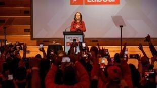 La Première ministre néo-zélandaise Jacinda Ardern après sa victoire écrasante aux élections générales, à Auckland, le 17 octobre 2020.
