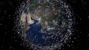 Cette image est une illustration des millions de débris spatiaux qui tournent autour de la Terre. Attention : la taille des débris est exagérée par rapport à celle de la Terre.