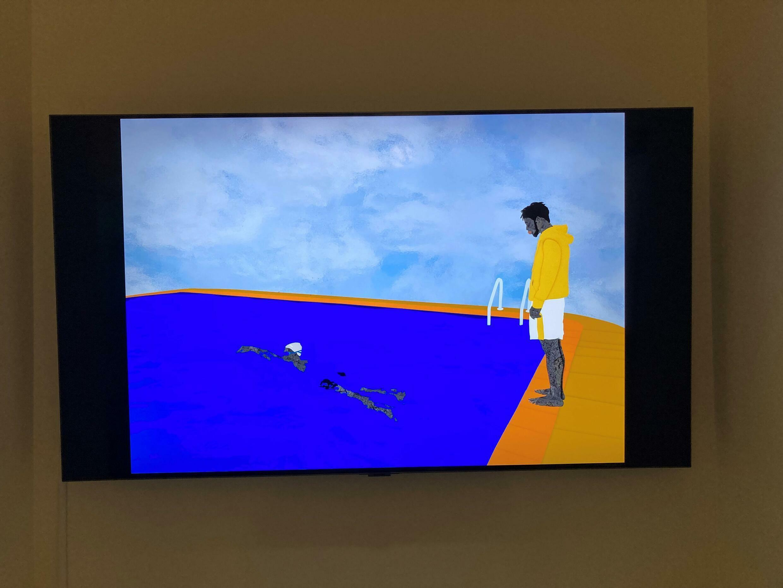 » Different shades of water « œuvre NFT du nigérian Osinachi (inspirée du Portrait of an Artiste de David Hockney)