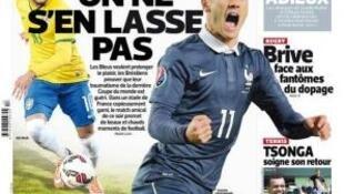 Capa do jornal L'Equipe desta quinta-feira, 26 de março de 2015.