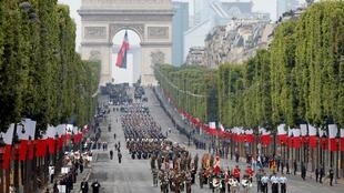 European troops attend the traditional Bastille Day military parade on the Champs-Elysees Avenue in Paris, France, July 14, 2019.