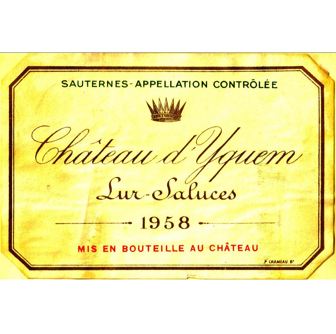 法國蘇玳酒的象徵——滴金酒莊1958年出品的酒瓶標籤。