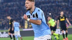 L'attaquant italien Ciro Immobile, sous les couleurs de la Lazio Rome, le 16 février 2020.