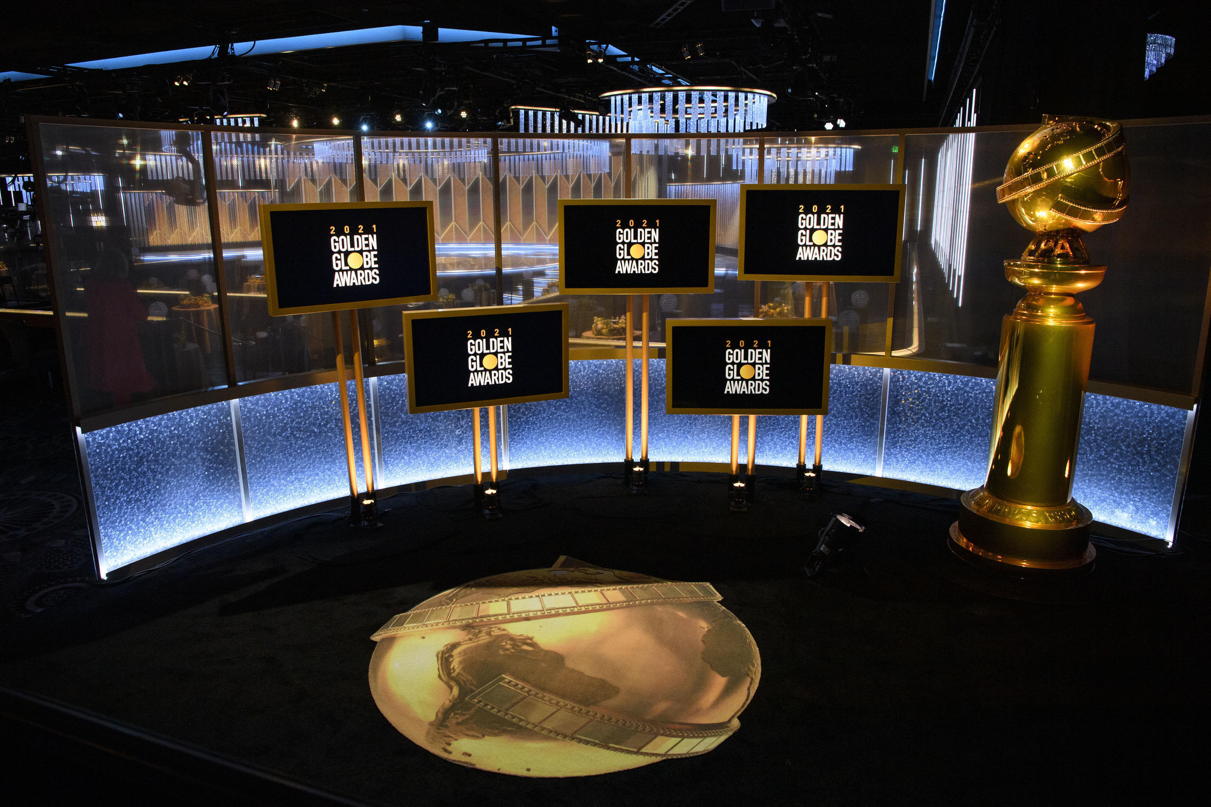 The Golden Globes was hosted from the Beverly Hilton, seen here, and New York's Rainbow Room