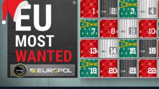 Le calendrier de l'avent d'Europol dévoile, chaque jour, le portrait d'un criminel recherché en Europe (capture d'écran).