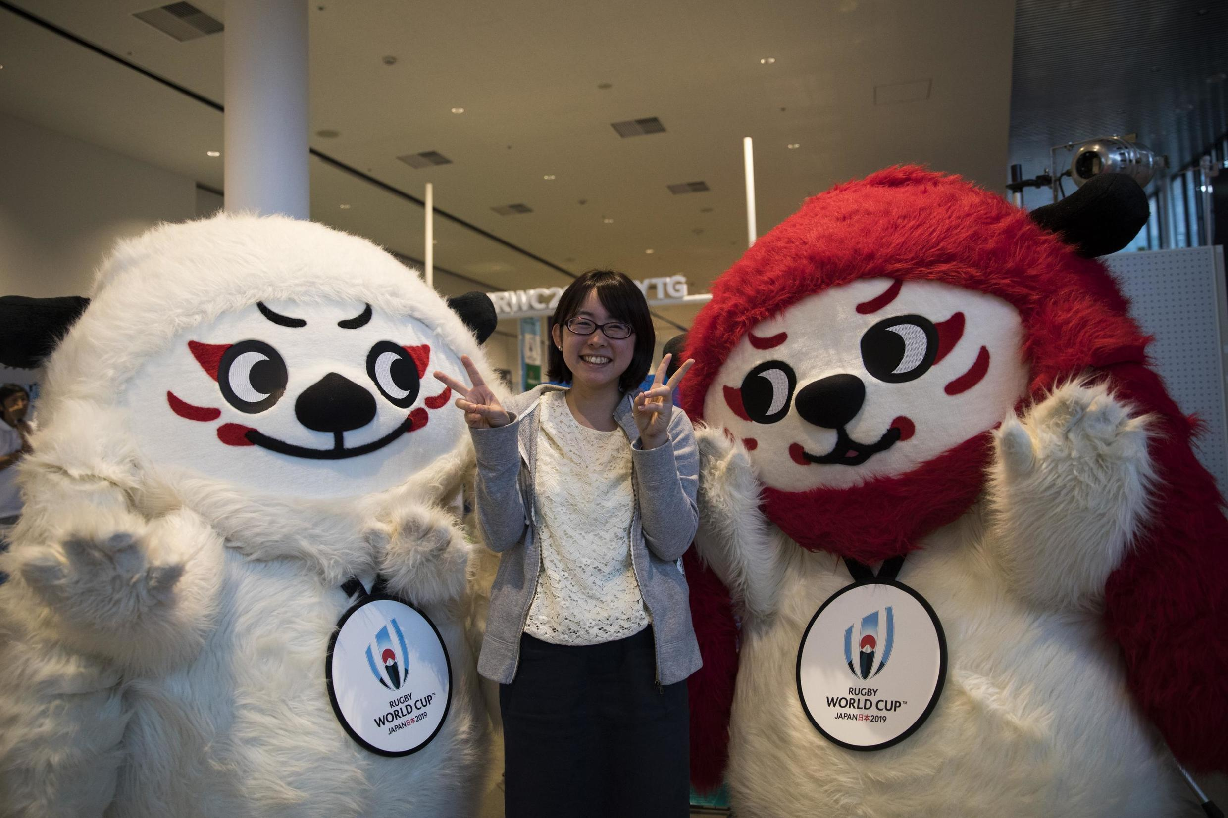 Mascots Ren (left) and G (right) will feature during the six week rugby world cup in Japan.