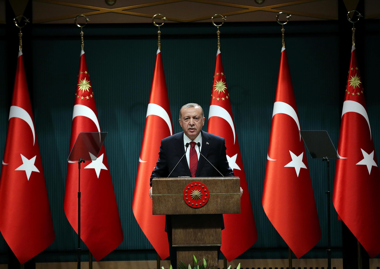 Recep Tayyip Erdogan, lors d'une conférence de presse, au palais présidentiel, en avril 2018.