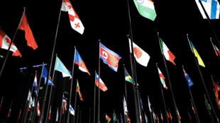 平昌奥运村的朝鲜及其他国家国旗