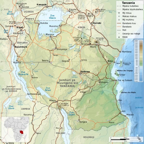 Ramani ya Tanzania na nchi jirani
