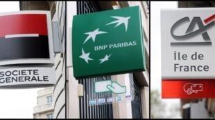 Signs of Société Générale, BNP Paribasand Crédit Agricole