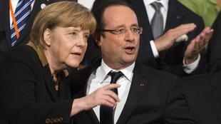 German Chancellor  Angela Merkel with French President François Hollande