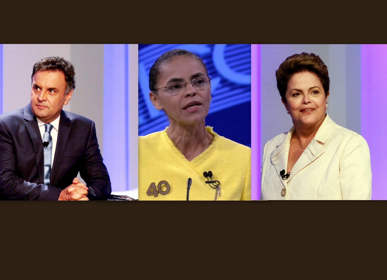 Os três principais candidatos à presidência da República, Aécio Neves (PSDB),  Marina Silva (PSB) e Dilma Rousseff (PT).