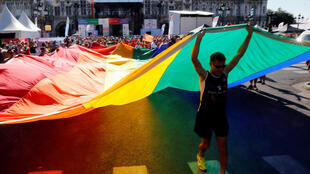 The international Rainbow Memorial Run during the inauguration of the Gay Games village at Paris's City Hall