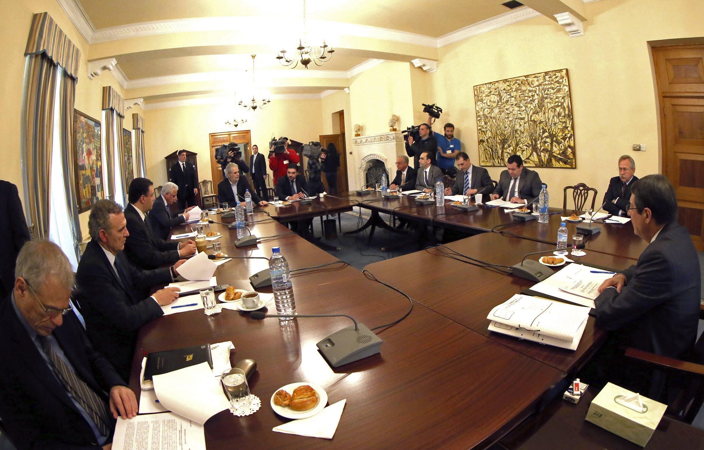 Заседание президента и совета министров Кипра, Никосия, 17 марта 2013 года