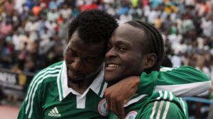Los nigerianos festejan su victoria ante Etiopía.