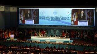 Le Secretaire General des Nations -Unies Ban Ki-moon prononce son allocution à l'ouverture du 4è sommet des PMA à Istanbul , le 9 mai 2011.