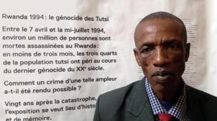 Richard Mugenzi, témoin de l'intérieur du génocide au Rwanda. Ici, au Mémorial de la Shoah à Paris qui organise jusqu'au 5 octobre 2014 l'exposition « Rwanda 1994 : le génocide des Tutsi ».