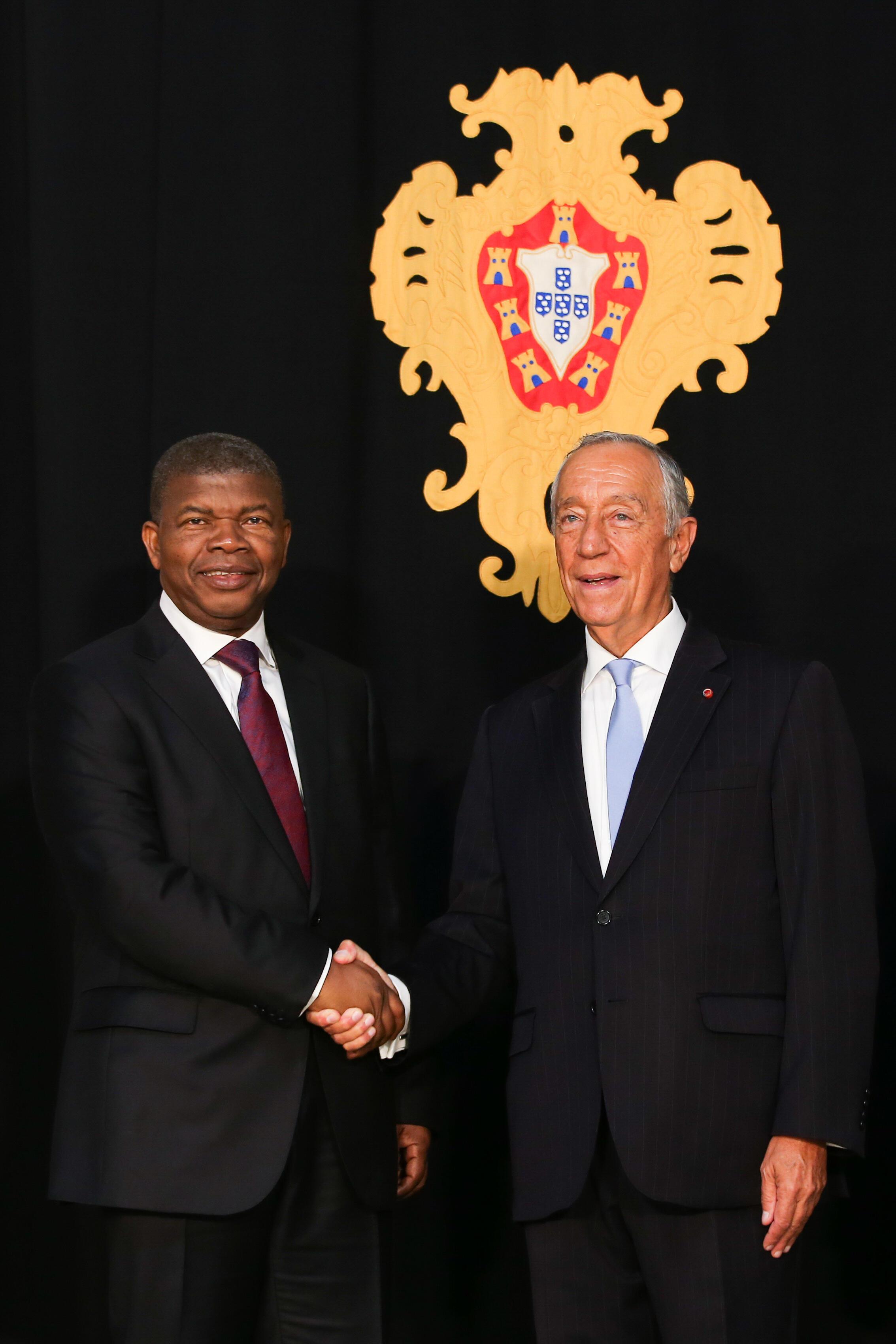 Presidente angolano, João Lourenço, recebido em Lisboa pelo seu homólogo português, Marcelo Rebelo de Sousa, a 22 de Novembro de 2018.