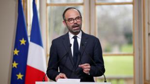 Le Premier ministre Edouard Philippe présente le projet de réforme des institutions, le 4 avril 2018 à Matignon.