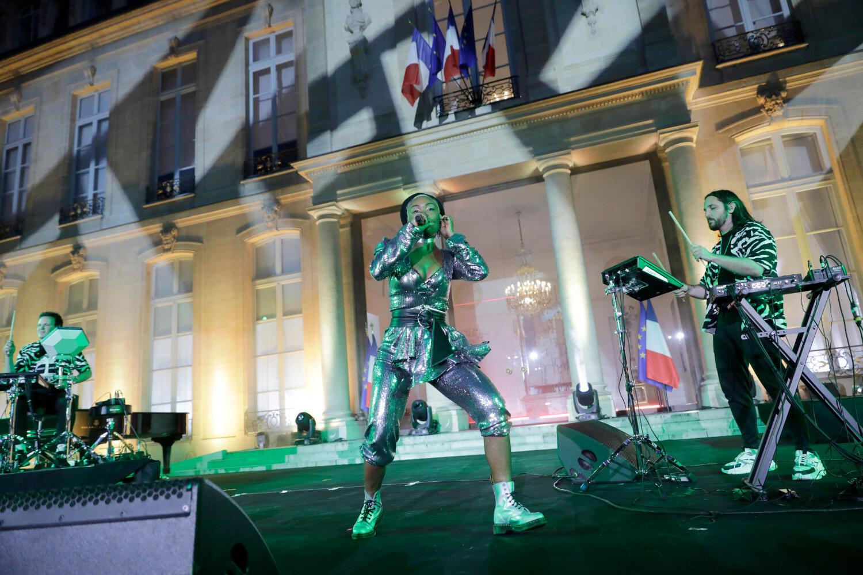 La chanteuse angolaise Pongo lors de la Fête de la musique, le 21 juin 2019 au palais de l'Élysée.
