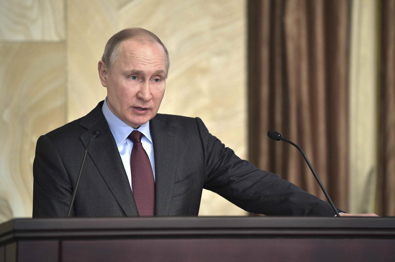 Tổng thống Nga Putin tại trụ sở của FSB ở Matxcơva, tháng 3/2018.
