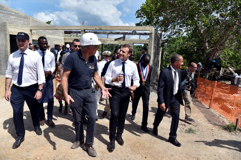 O presidente francês, Emmanuel Macron, em visita à Guiana Francesa.