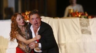 """Ensaio da ópera """"Jedermann"""", de Hugo von Hofmannsthal, para o Festival de Salzburgo no último dia 13 de julho de 2013."""