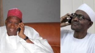 Shugaban Najeriya Muhammadu Buhari, da kuma Gwamnan Kano Abdullahi Umar Ganduje.