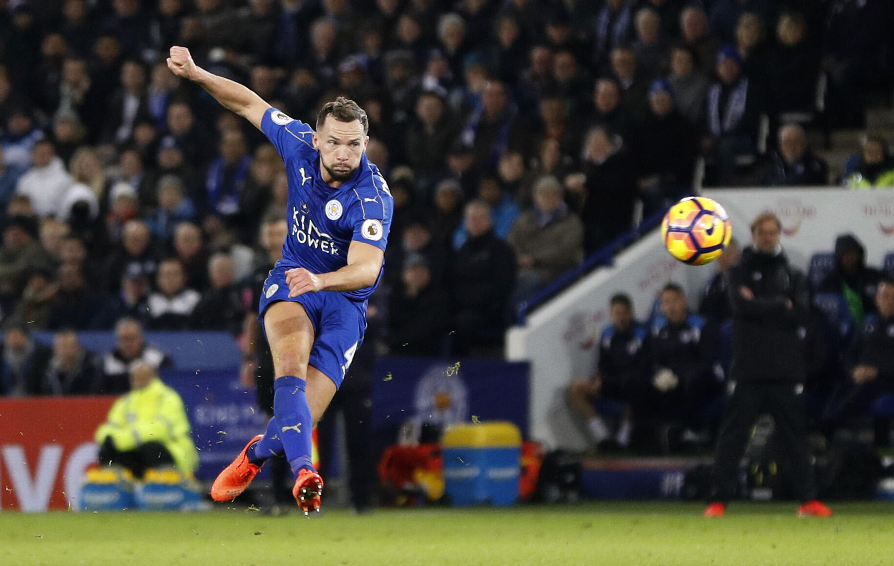 Leicester City's Danny Drinkwater scores their second goal against Liverpool.