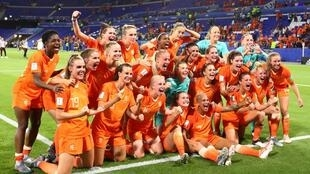 Soccer Football - Women's World Cup - Semi Final - Netherlands v Sweden - Groupama Stadium, Lyon, France - July 3, 2019 Netherlands players celebrate in front of their fans at the end of the match.
