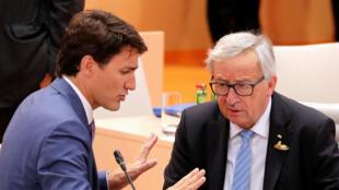 Le président de la Commission Jean-Claude Juncker et le Premier ministre canadien Justin Trudeau, qui assistent tous les deux au G20 à Hambourg (Allemagne), se sont mis d'accord sur cette date.