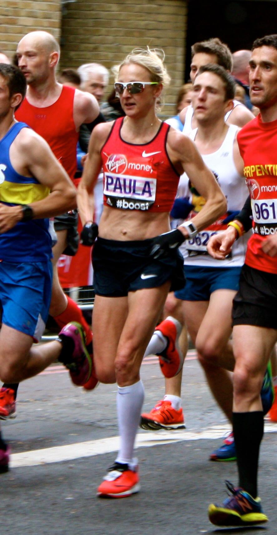 Paula Radcliffe competing in the 2015 London Marathon, which would be the final race of her career
