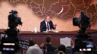 Le président russe Vladimir Poutine lors de de sa grande conférence de presse annuelle, le 19 décembre 2019 à Moscou.
