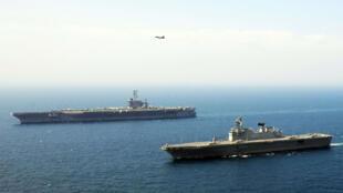 美國華盛頓航母去年與韓國軍艦在朝鮮半島海域舉行演習