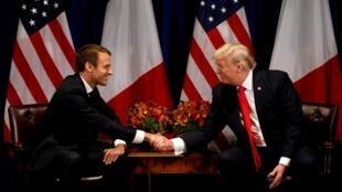 Shugaban Amurka Donald Trump, yayin ganawa da takwaransa na Faransa Emmanuel Macron a birnin New York.