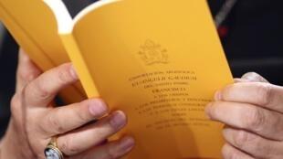 O arcebispo Claudio Maria Celli, presidente do Conselho Pontifício, durante coletiva da apresentação do Evangelii Gaudium, no Vaticano.