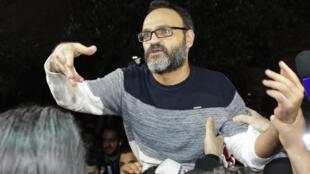 L'acteur libanais Ziad Itani, lors de sa libération après avoir été accusé de collaboration avec Israël, le 13 mars 2018.