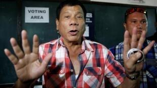 Rodrigo Duterte, na cidade de Davao, nas Filipinas, em 9 de maio de 2016.