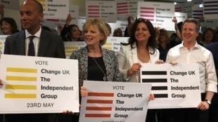 Des membres du Parlement lancent la campagne des européennes pour leur nouveau parti, Change UK, à Bristol le 23 avril 2019.