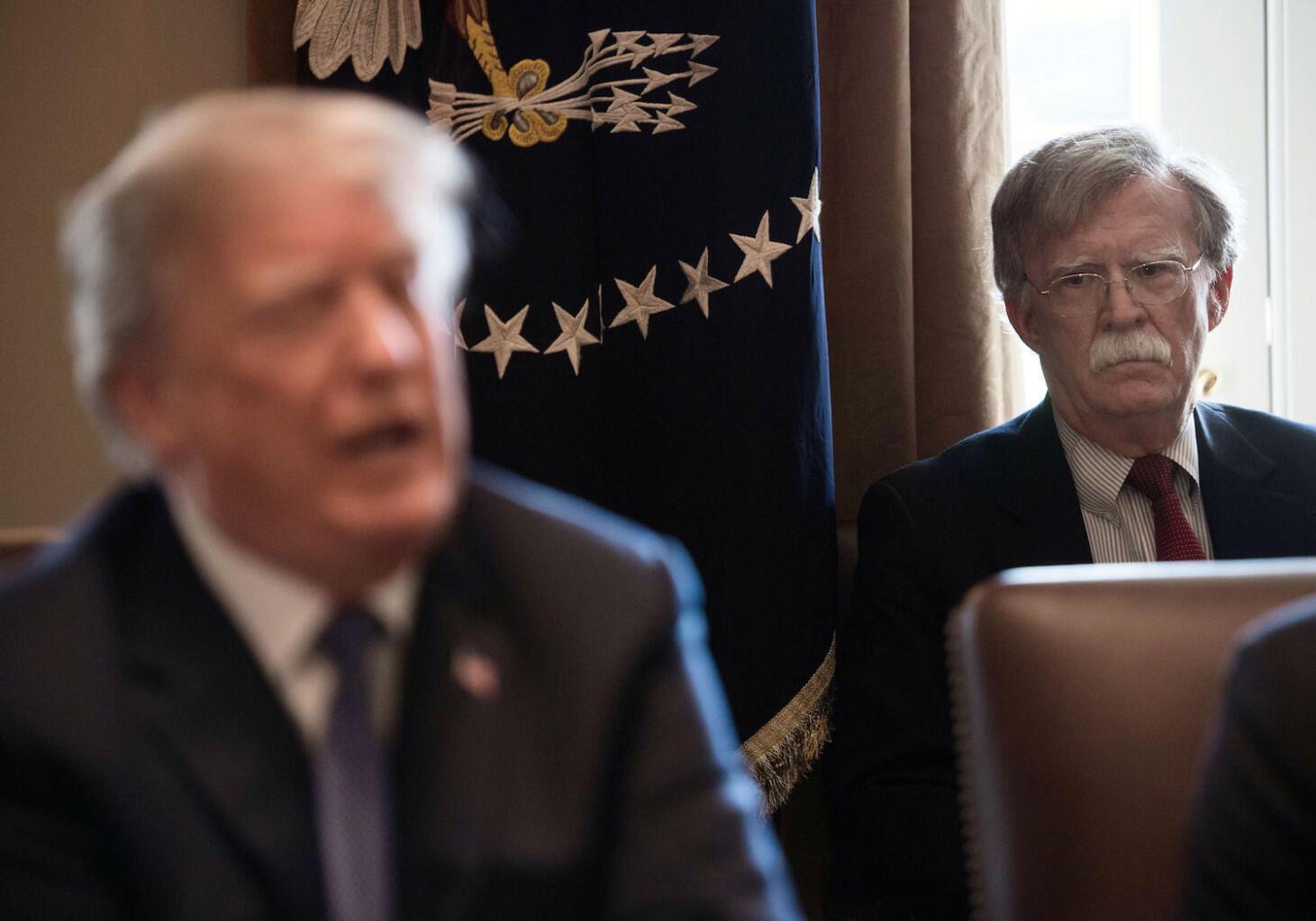 美國總統特朗普與國國家安全顧問博爾頓