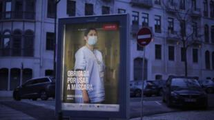 Portugal - Coronavirus - Covid-19 - Message publicitaire - Masque - AP21040687404215