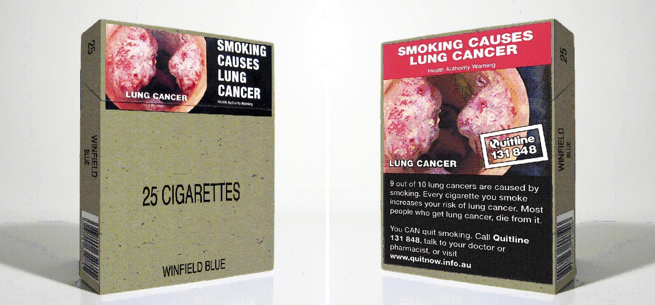 Pacotes de cigarros serão todos uniformizados na Austrália e deverão conter obrigatoriamente alertas e imagens sobre o risco que o tabaco causa à saúde.
