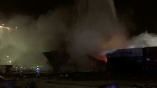 Dubai - Emirats arabes unis - UAE - port - jebel Ali - fire - incendie