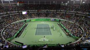 Le Centre Olympique de tennis durant la finale qui a opposé le Britannique Andy Murray et l'Argentin Juan Martin Del Potro, le 14 août 2016.