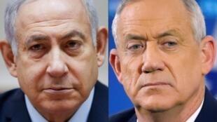Fotomontaje con el primer ministro israelí, Benjamin Netanyahu (izquierda), el 9 de diciembre de 2018 y su rival Benny Gantz (derecha), el 1 de abril de 2019