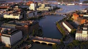 Une vue aérienne d'Helsinki, capitale de la Finlande.