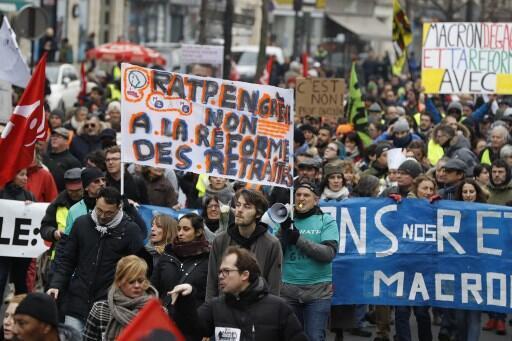 Biểu tình chống dự án cải cách hưu trí của chính phủ Pháp, Paris, ngày 04/01/2020