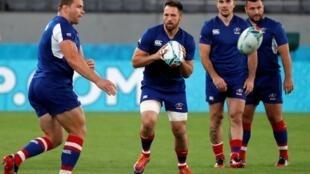 Les Russes à l'entraînement avant le match d'ouverture de la Coupe du monde 2019 de rugby à XV, face au Japon.