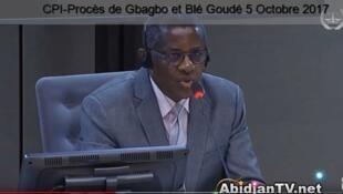 Philippe Mangou devant la CPI à La Haye, le 5 octobre 2017.