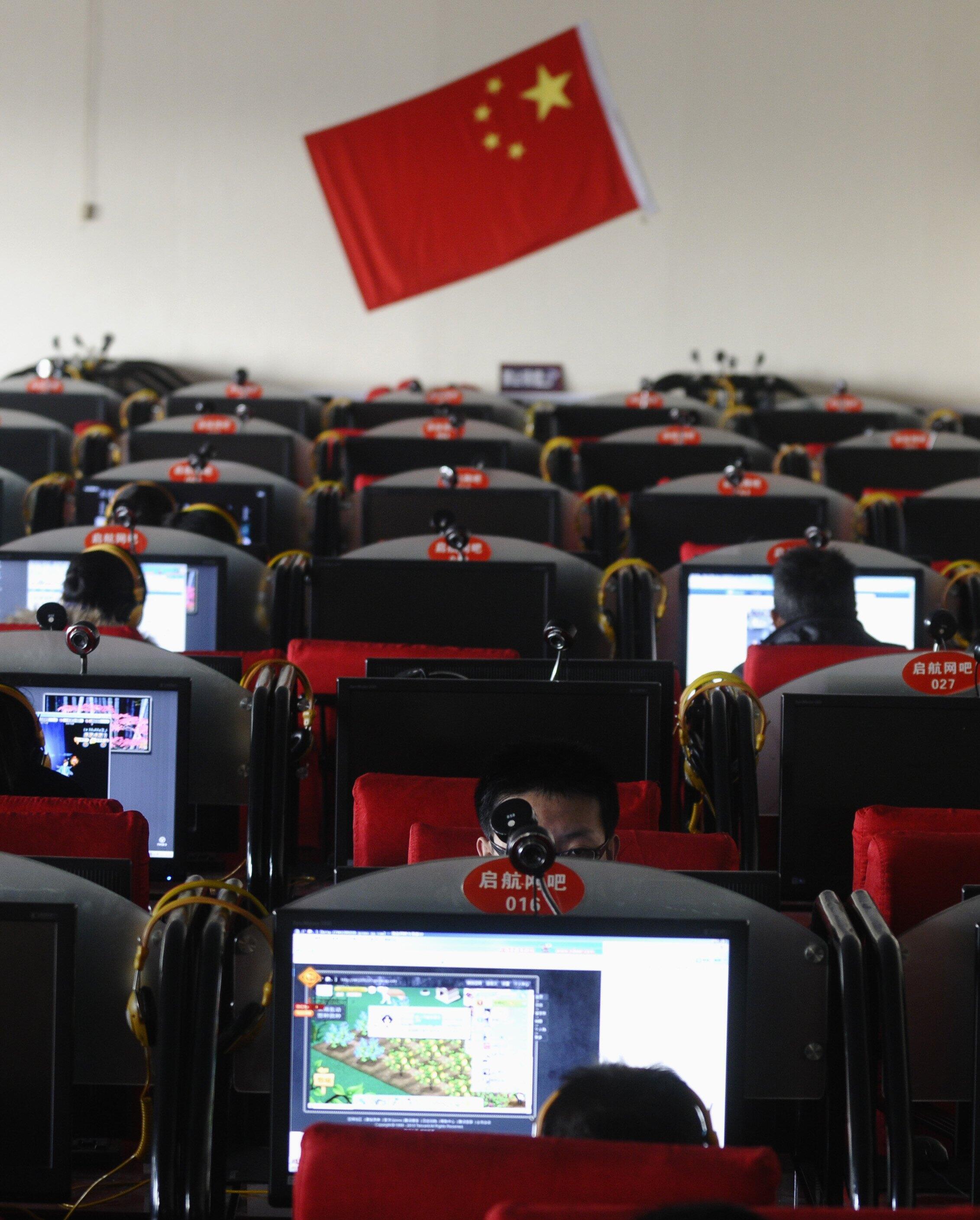 Một cửa hàng dịch vụ internet ở Thiểm Tây, Trung Quốc.